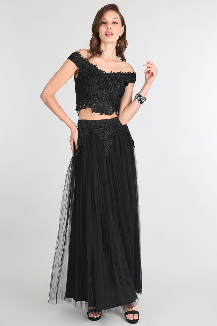 Off Shoulder Lace Top And Tulle Skirt Set