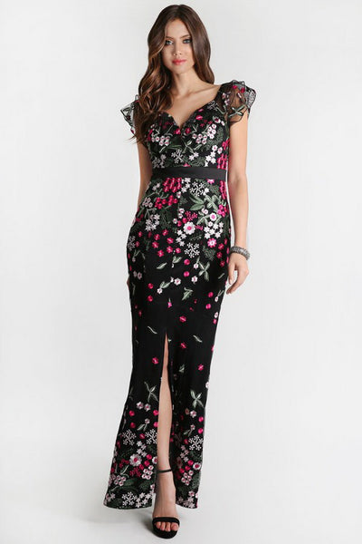 Black Floral Embroidery Ruffle Sleeve Long Dress