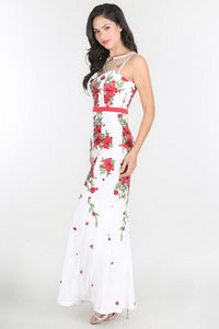 Ivory Red Waistband Floral Embroidered Dress