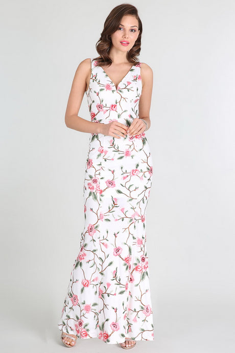 White Coral Floral Embroidered Long Dress