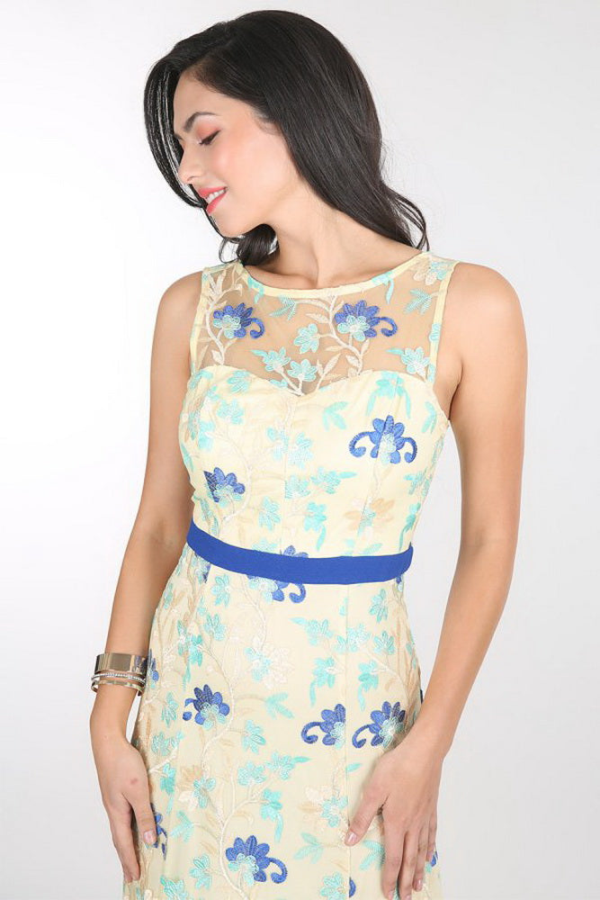 Yellow Spring Floral Embroidered Dress