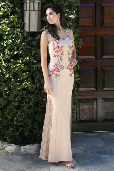 Beige Flower Patch Sheer Back Long Dress