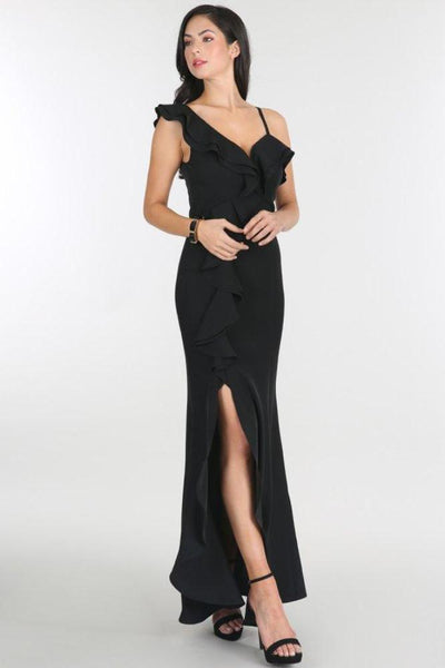 Solid Black Ruffle Slit Long Dress