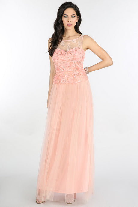 Blush 3D Flower Peplum Pleated Tulle Long Dress