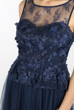 Navy 3D Flower Peplum Pleated Tulle Dress
