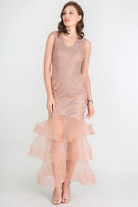 Taupe Tiered Tulle Bottom V-Neck Dress