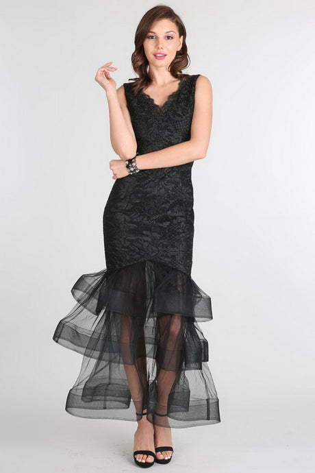 Black Tiered Tulle Bottom V-Neck Dress