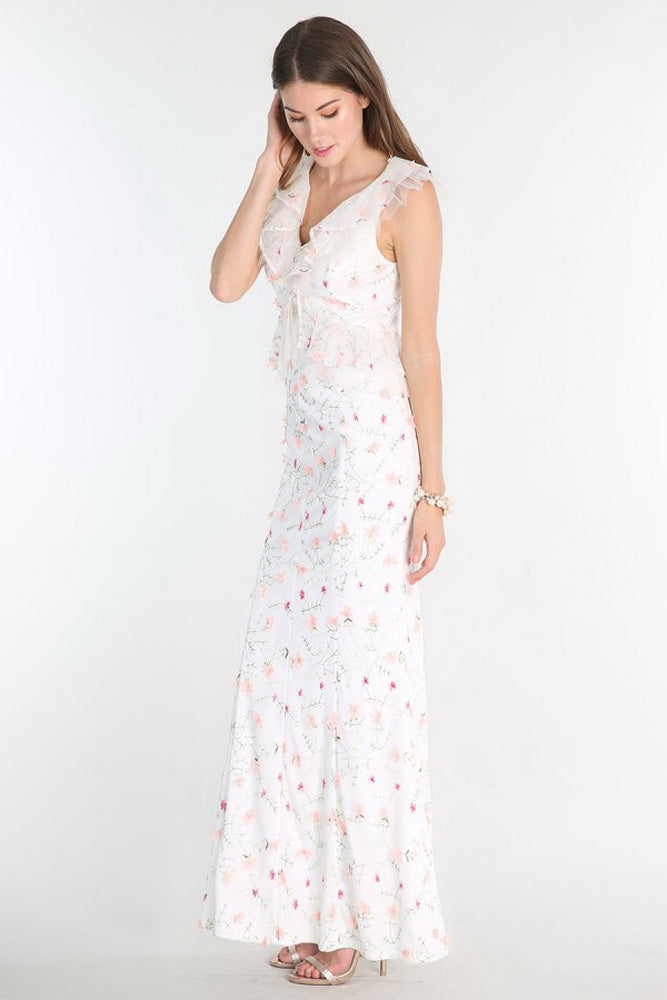 Ivory 3D Floral Embroidered Ruffle Dress