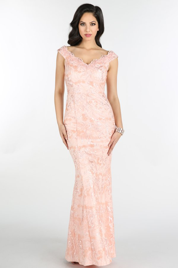 Blush Sequins Embroidered Lace Long Dress