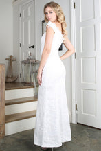 White Sequins Embroidered Lace Long Dress