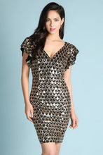 Gold And Black Scale Ruffled Sleeve Sequins Dress