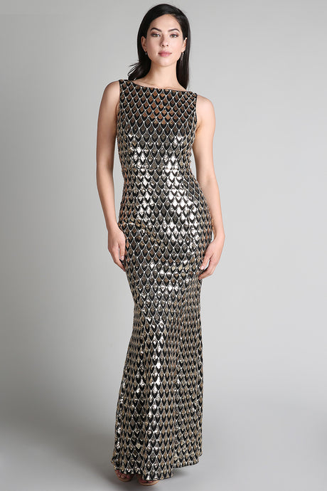Gold And Black Scale Sequins Long Dress