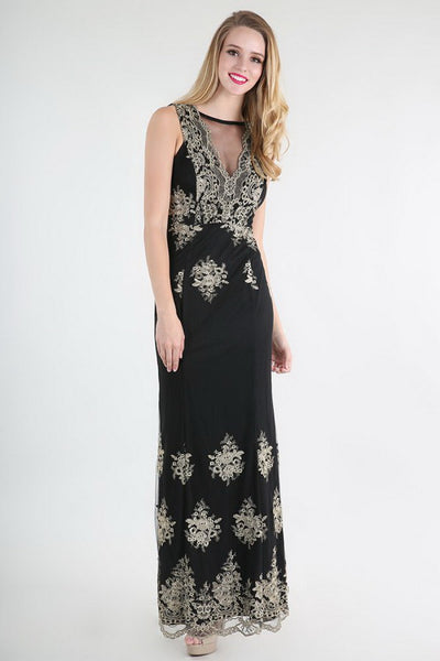 Gold Metallic Embroidered On Black Lace Dress