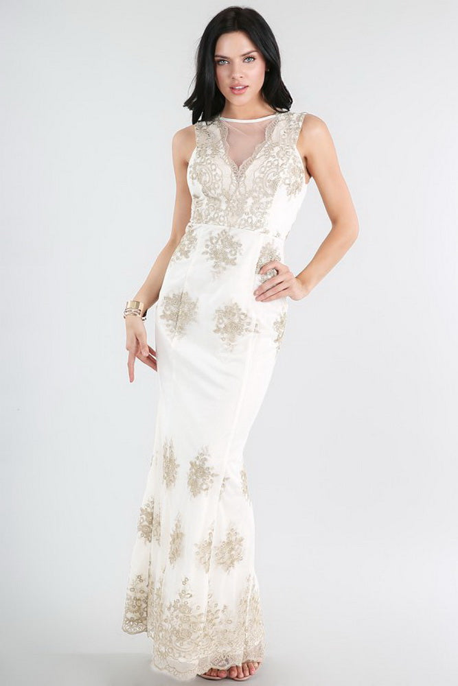 Gold Metallic Embroidered On White Lace Dress