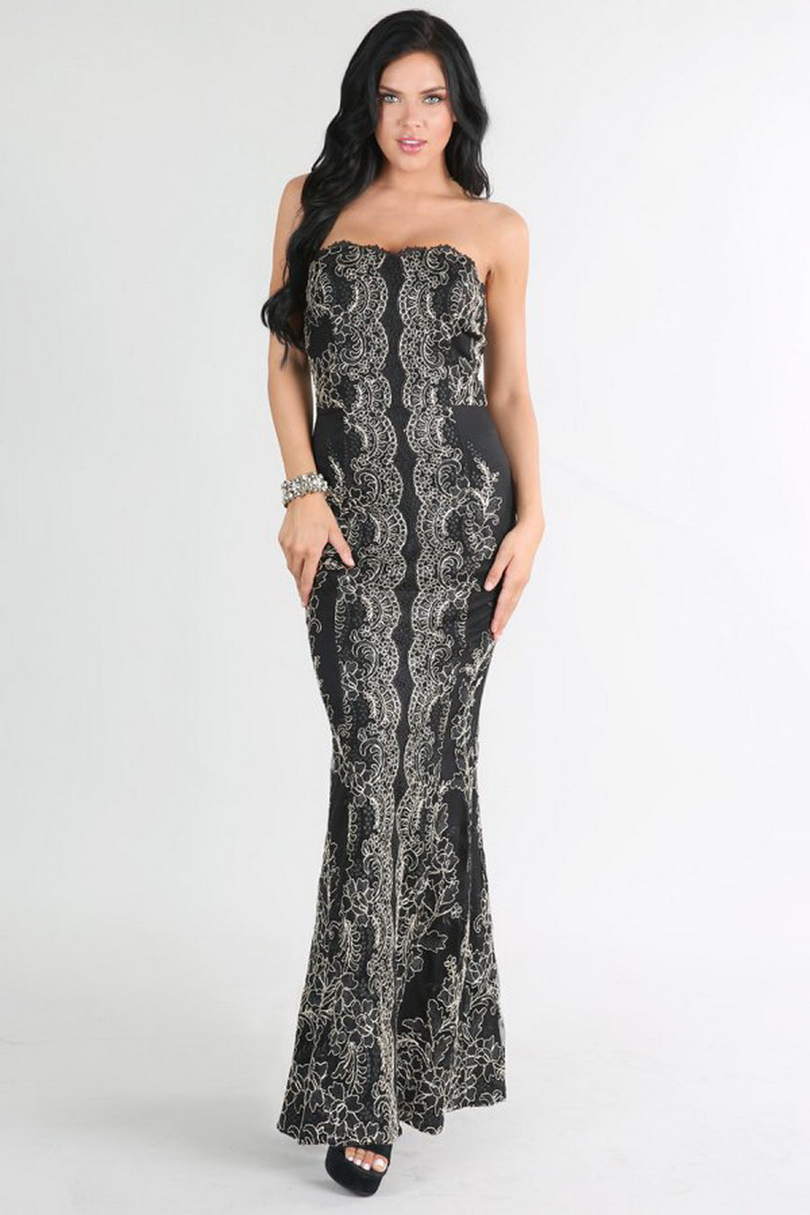 Black And Gold Metallic Strapless Sweetheart Lace Long Dress