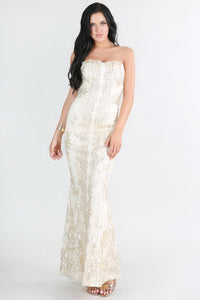 White And Gold Metallic Strapless Sweetheart Lace Long Dress