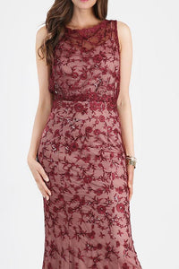 Burgundy Sequin Embroidered Blouson Dress