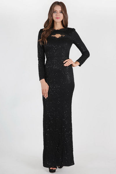 Black Long Sleeve Full Lace And Sequin Long Dress