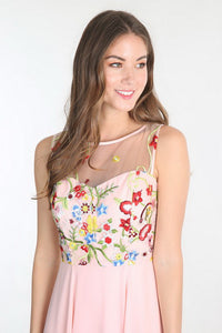 Blush Floral Embroidered Chiffon Dress