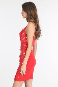 Red Cowl Neck Sequin Dress