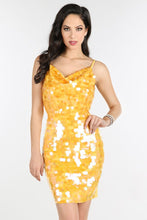 Yellow Cowl Neck Sequin Dress
