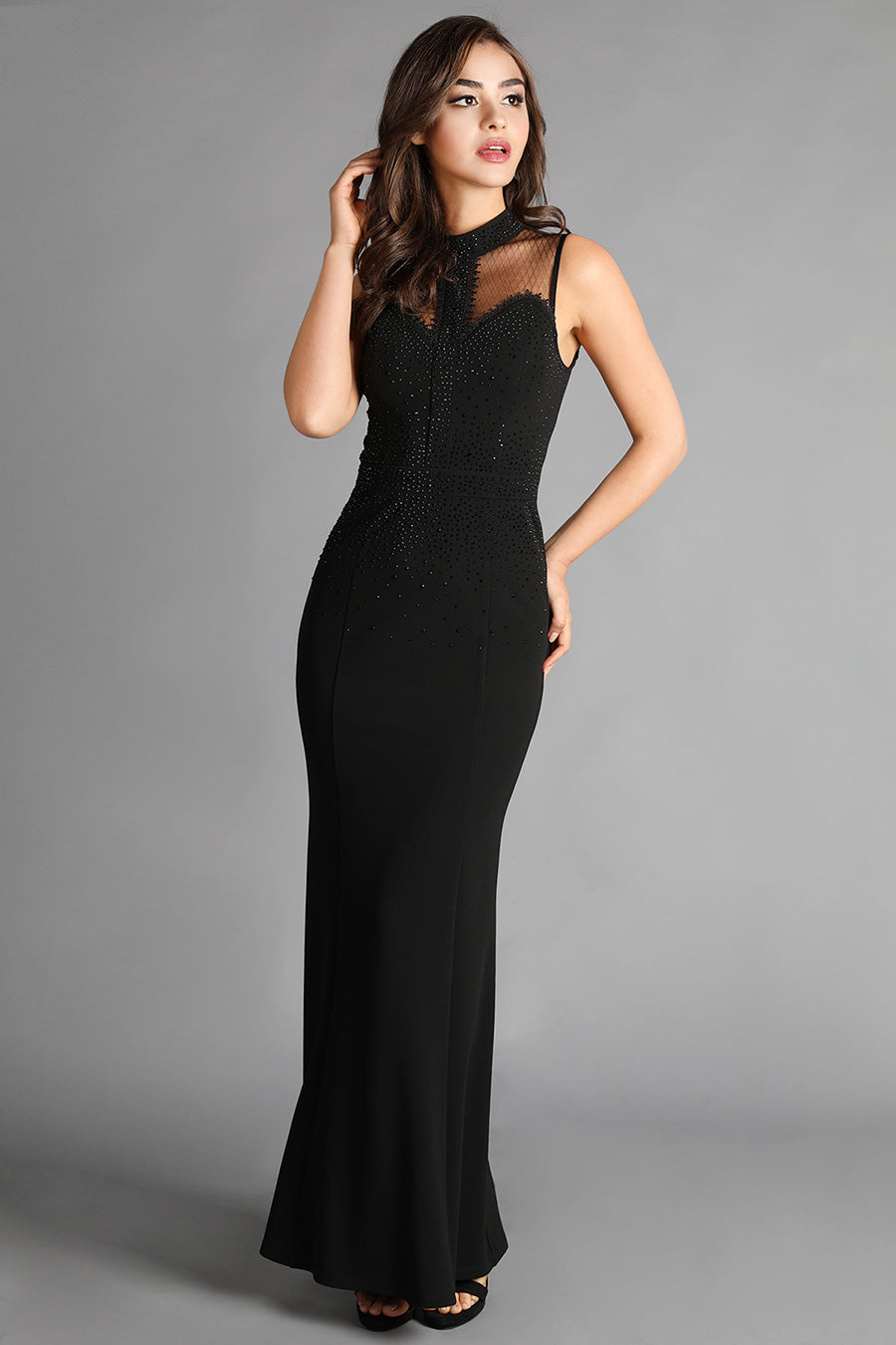 Black Bead And Mesh Embellished Long Dress
