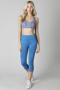 Blue Vintage Ladder Capri Leggings