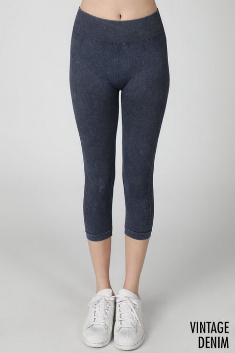 Navy Vintage Ladder Capri Leggings