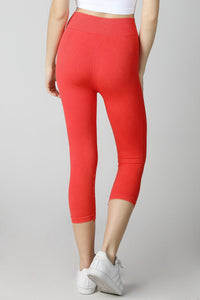 Red Vintage Ladder Capri Leggings