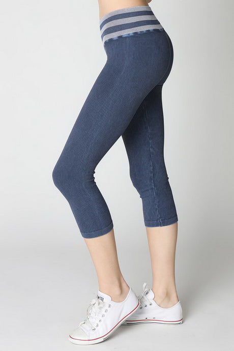 Navy Vintage Striped Capri Leggings