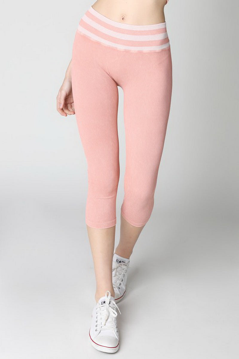 Soft Pink Vintage Striped Capri Leggings