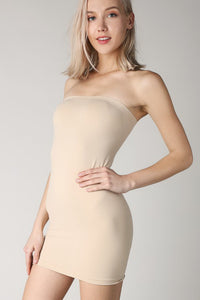 Beige Rib Band Tube Dress