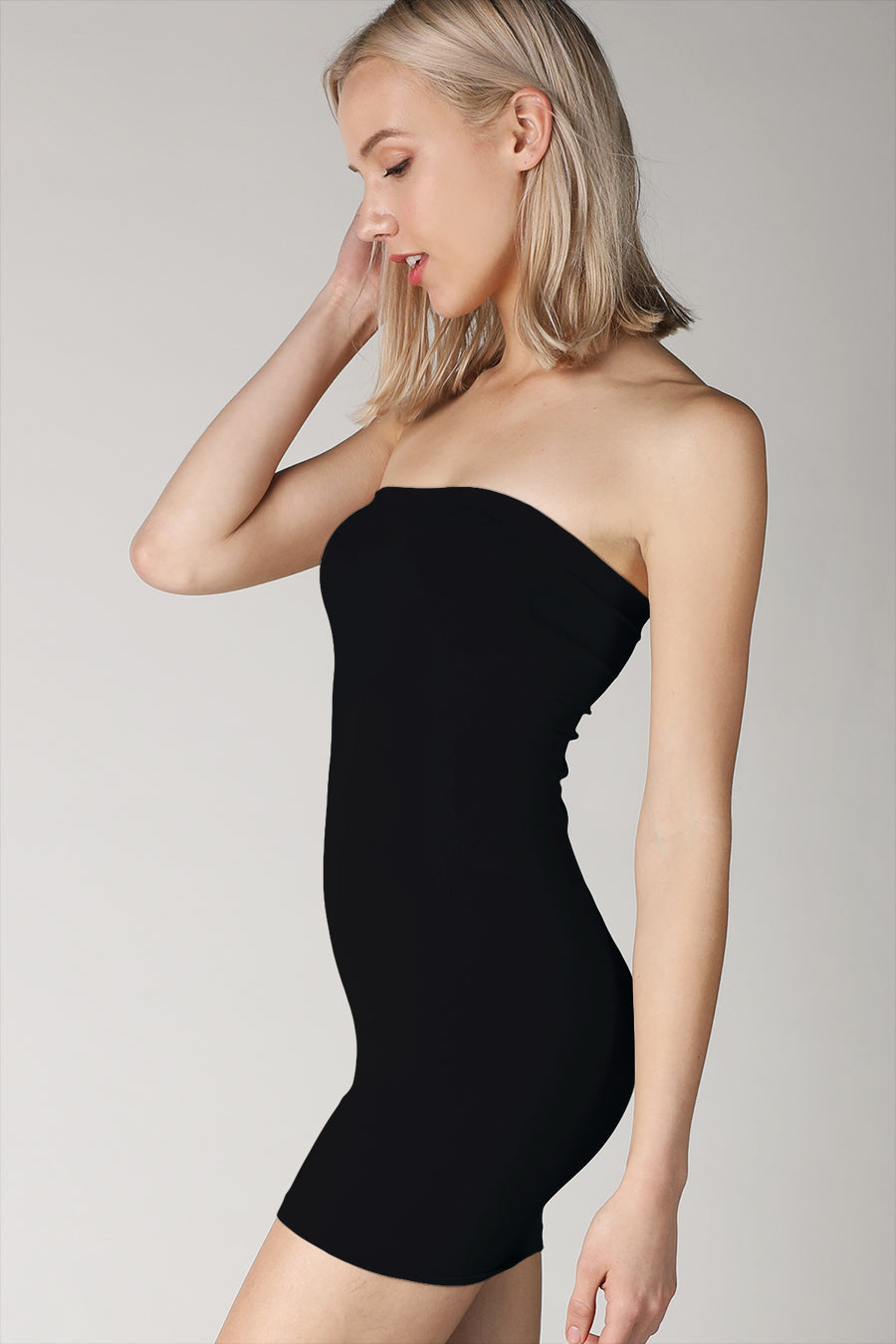 Black Rib Band Tube Dress