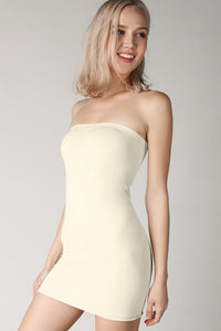 Ivory Rib Band Tube Dress