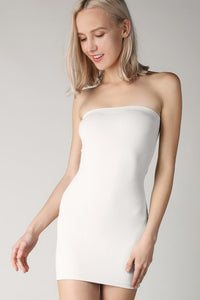 White Rib Band Tube Dress