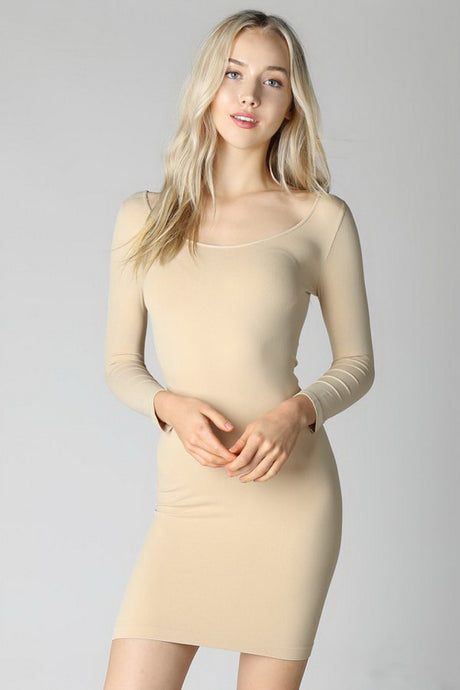 Beige 3/4 Sleeve Scoop Neck Dress