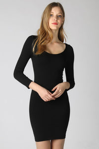 Black 3/4 Sleeve Scoop Neck Dress