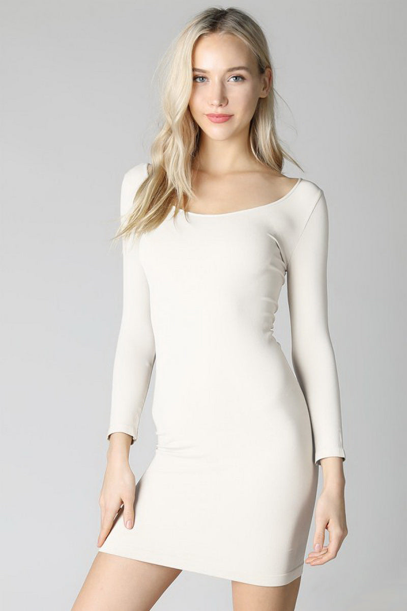 Ivory 3/4 Sleeve Scoop Neck Dress