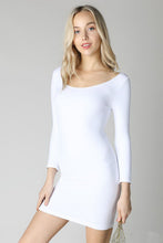 White 3/4 Sleeve Scoop Neck Dress
