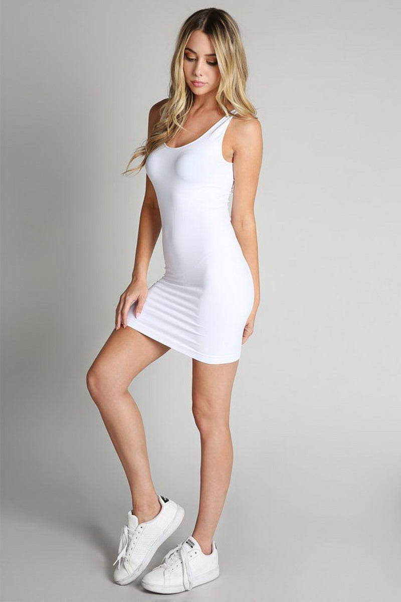 White Reversible Tank Dress