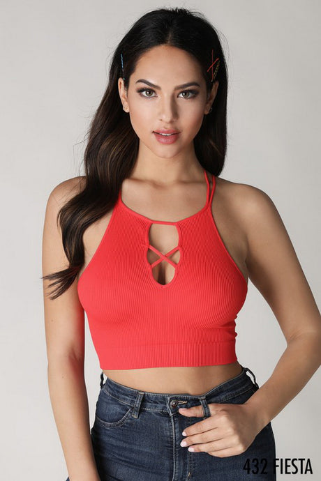 Red Ribbed Cutout Halter Sport Top