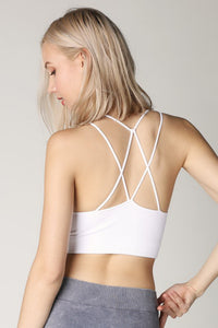 White Ribbed Cutout Halter Sport Top