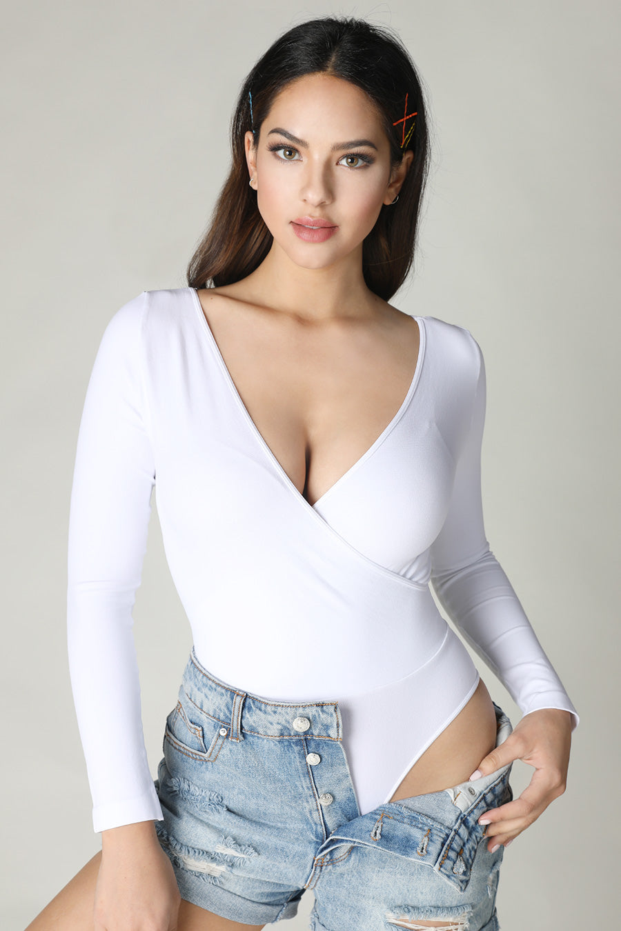 White Cross Overwrap Bodysuit