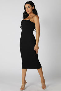 Black Ribbed Midi Dress