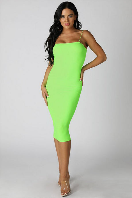 Neon Green Ribbed Midi Dress