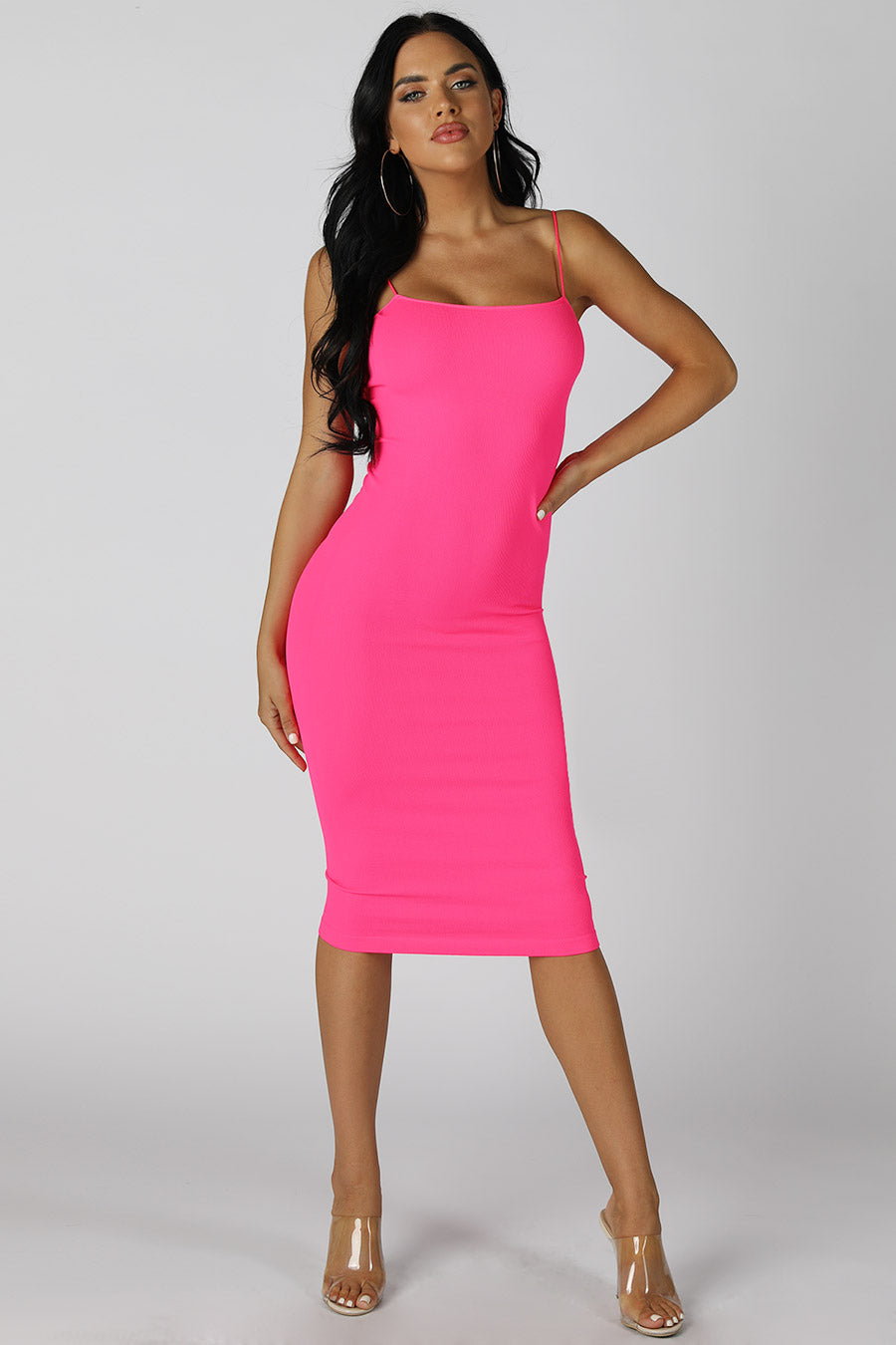 Neon Pink Ribbed Midi Dress