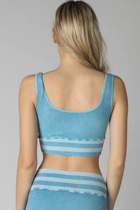 Light Blue Vintage Striped Crop Top