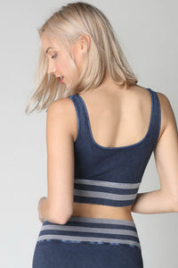 Navy Vintage Striped Crop Top