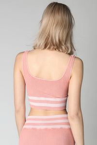 Pink Vintage Striped Crop Top