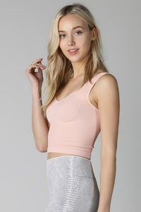 Blush Vintage V Neck Crop Top